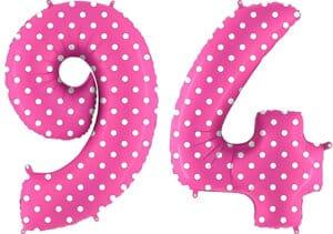 Luftballon Zahl 94 Zahlenballon pink mit weißen Punkten (100 cm)