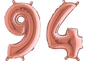 Luftballon Zahl 94 Zahlenballon rosegold (66 cm)