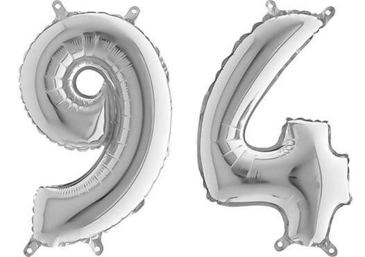 Luftballon Zahl 94 Zahlenballon silber (66 cm)