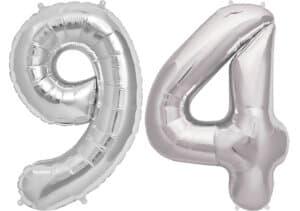 Luftballon Zahl 94 Zahlenballon silber (86 cm)
