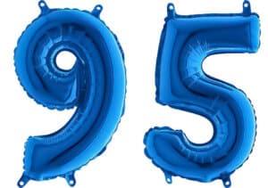 Luftballon Zahl 95 Zahlenballon blau (66 cm)