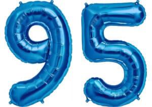 Luftballon Zahl 95 Zahlenballon blau (86 cm)