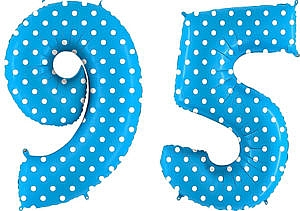Luftballon Zahl 95 Zahlenballon blau mit weißen Punkten (100 cm)