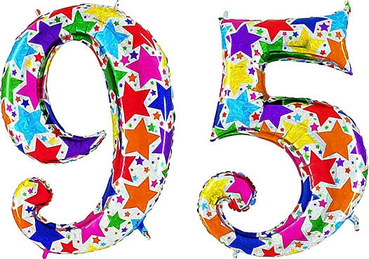 Luftballon Zahl 95 Zahlenballon silber mit bunten Sternen (100 cm)