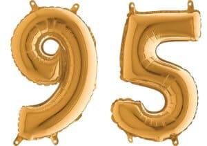 Luftballon Zahl 95 Zahlenballon gold (66 cm)