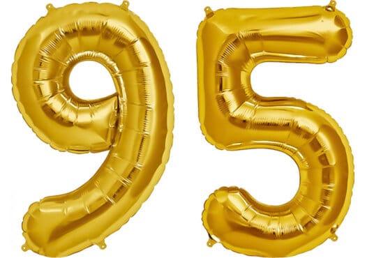 Luftballon Zahl 95 Zahlenballon gold (86 cm)