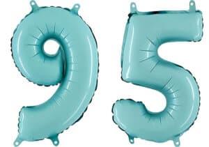 Luftballon Zahl 95 Zahlenballon pastell-blau (100 cm)