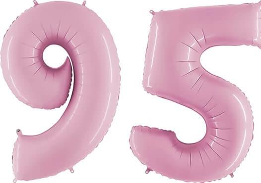 Luftballon Zahl 95 Zahlenballon pastell-pink (100 cm)