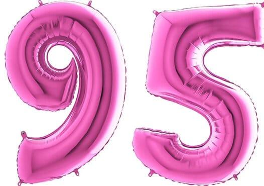 Luftballon Zahl 95 Zahlenballon pink (66 cm)
