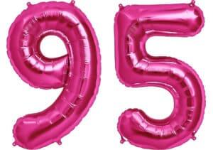 Luftballon Zahl 95 Zahlenballon pink (86 cm)
