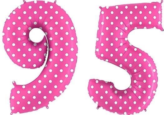 Luftballon Zahl 95 Zahlenballon pink mit weißen Punkten (100 cm)