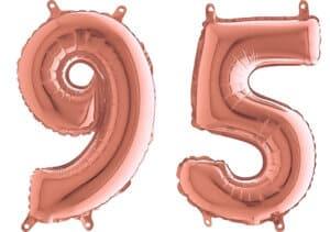 Luftballon Zahl 95 Zahlenballon rosegold (66 cm)