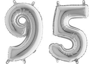 Luftballon Zahl 95 Zahlenballon silber (66 cm)
