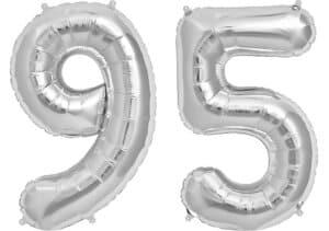 Luftballon Zahl 95 Zahlenballon silber (86 cm)