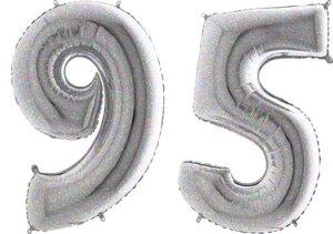 Luftballon Zahl 95 Zahlenballon silber-holographic (100 cm)