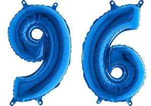 Luftballon Zahl 96 Zahlenballon blau (66 cm)