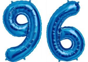 Luftballon Zahl 96 Zahlenballon blau (86 cm)