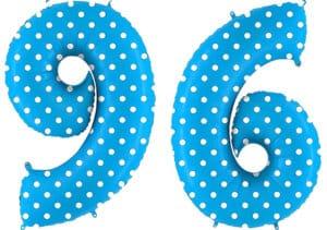 Luftballon Zahl 96 Zahlenballon blau mit weißen Punkten (100 cm)