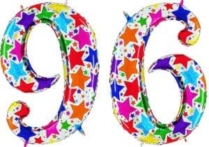 Luftballon Zahl 96 Zahlenballon silber mit bunten Sternen (100 cm)