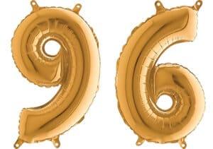 Luftballon Zahl 96 Zahlenballon gold (66 cm)