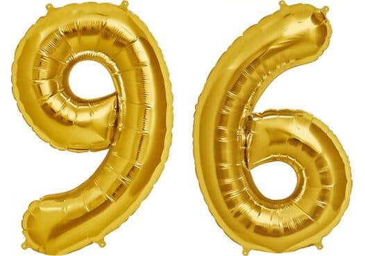Luftballon Zahl 96 Zahlenballon gold (86 cm)