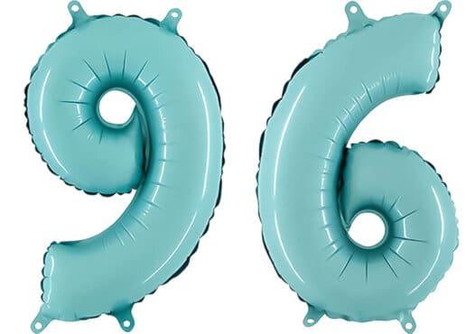Luftballon Zahl 96 Zahlenballon pastell-blau (100 cm)