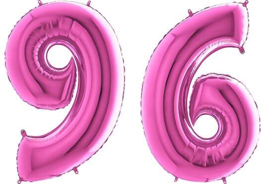 Luftballon Zahl 96 Zahlenballon pink (66 cm)