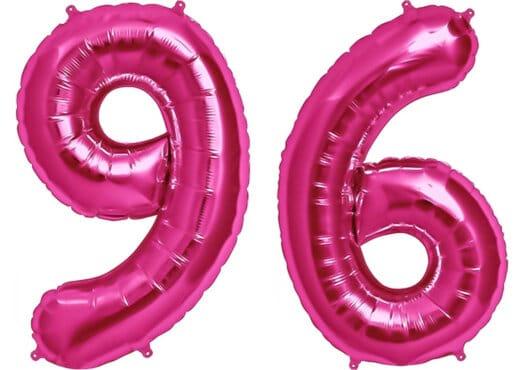 Luftballon Zahl 96 Zahlenballon pink (86 cm)
