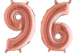 Luftballon Zahl 96 Zahlenballon rosegold (66 cm)