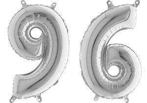 Luftballon Zahl 96 Zahlenballon silber (66 cm)