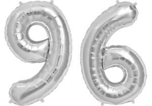Luftballon Zahl 96 Zahlenballon silber (86 cm)