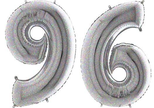 Luftballon Zahl 96 Zahlenballon silber-holographic (100 cm)