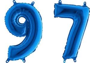 Luftballon Zahl 97 Zahlenballon blau (66 cm)
