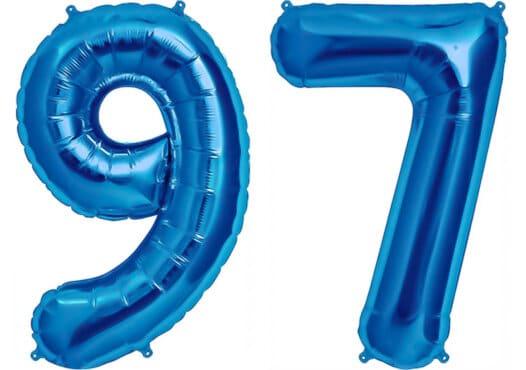 Luftballon Zahl 97 Zahlenballon blau (86 cm)
