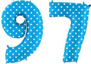 Luftballon Zahl 97 Zahlenballon blau mit weißen Punkten (100 cm)