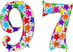 Luftballon Zahl 97 Zahlenballon silber mit bunten Sternen (100 cm)