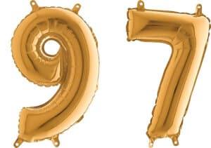 Luftballon Zahl 97 Zahlenballon gold (66 cm)