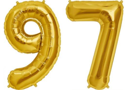 Luftballon Zahl 97 Zahlenballon gold (86 cm)
