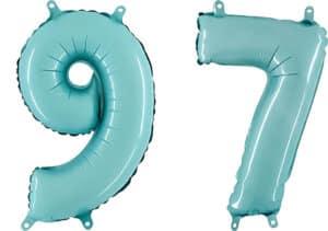 Luftballon Zahl 97 Zahlenballon pastell-blau (100 cm)