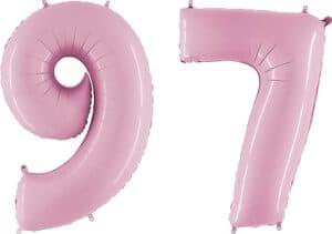 Luftballon Zahl 97 Zahlenballon pastell-pink (100 cm)