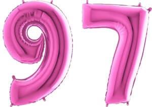 Luftballon Zahl 97 Zahlenballon pink (66 cm)