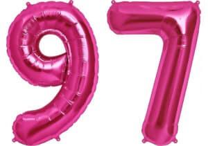 Luftballon Zahl 97 Zahlenballon pink (86 cm)