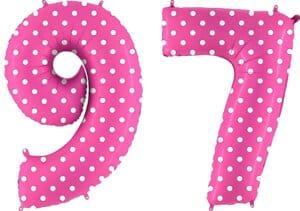 Luftballon Zahl 97 Zahlenballon pink mit weißen Punkten (100 cm)
