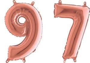 Luftballon Zahl 97 Zahlenballon rosegold (66 cm)