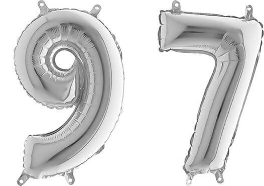 Luftballon Zahl 97 Zahlenballon silber (66 cm)