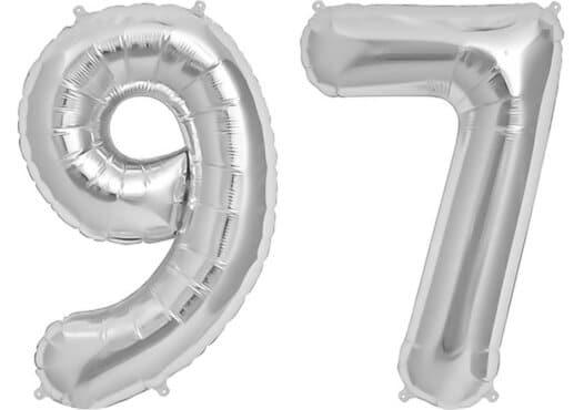 Luftballon Zahl 97 Zahlenballon silber (86 cm)