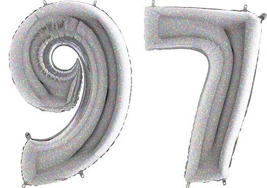 Luftballon Zahl 97 Zahlenballon silber-holographic (100 cm)