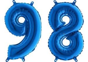 Luftballon Zahl 98 Zahlenballon blau (66 cm)