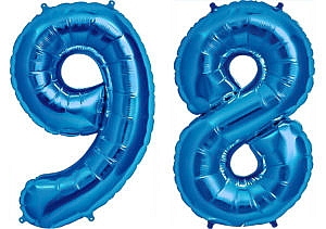 Luftballon Zahl 98 Zahlenballon blau (86 cm)