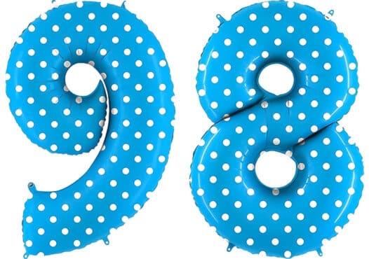 Luftballon Zahl 98 Zahlenballon blau mit weißen Punkten (100 cm)